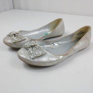 Nicole Garrett Silver Jeweled Bow Flats